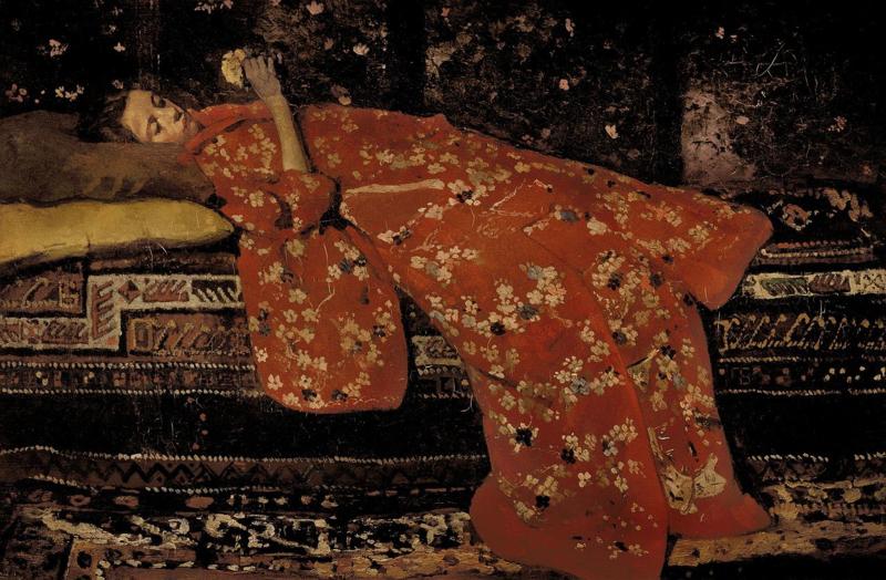 Breitner, Meisje in rode kimono, liggend (Geesje Kwak)
