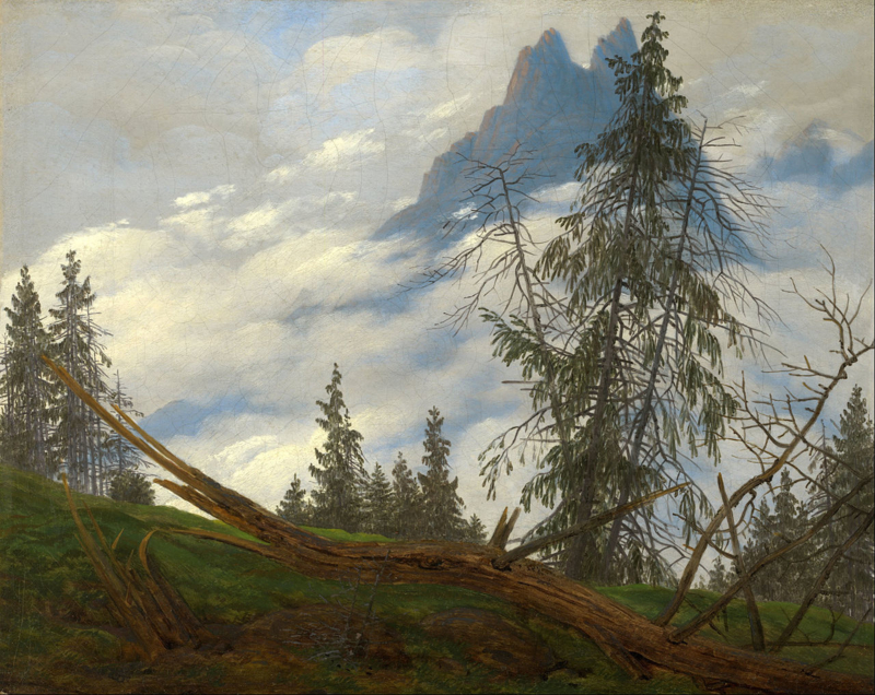 Friedrich, Bergpiek met drijvende wolken