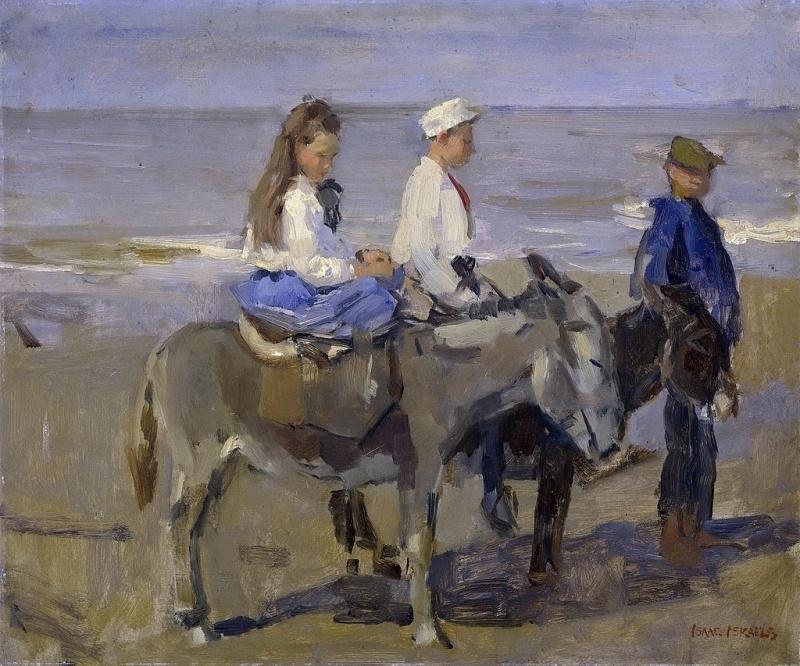 I. Israëls, Jongen en meisje op een ezeltje