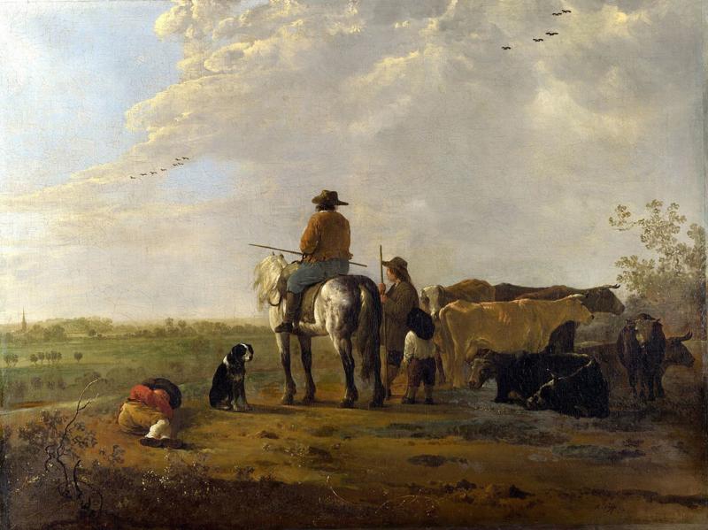Cuyp, Landschap met ruiters, herders en vee