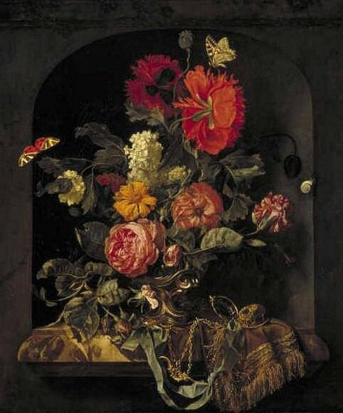 Van Aelst, Vaas met bloemen in een nis