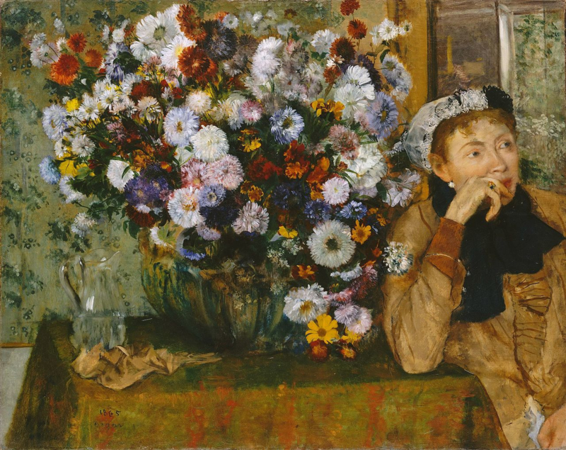 Degas, Zittende vrouw naast een vaas met bloemen
