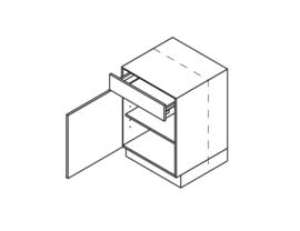 45 CM Onderkast met lade en deur Links - Alpha Lack