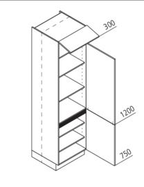 60x225 CM Voorraadkast Rechts - Lux