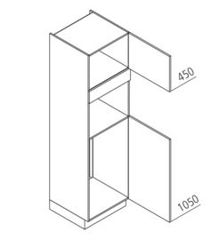60x210 CM Hogekast t.b.v. Koel + combi Rechts - Alpha Lack