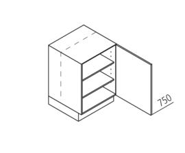30 CM Onderkast met doorlopende deur Rechts - Lux