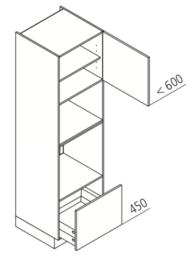 60 x 210 CM Hogekast t.b.v. Oven + combi Rechts - Alpha Lack
