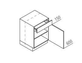 45 CM Onderkast met lade en deur Rechts - Alpha Lack