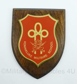 KMS Koninklijke Militaire School wandbord - afmeting 18 x 14,5 x 1,5 cm - origineel