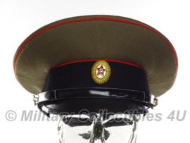 Russische leger platte pet bruin/blauw met rode bies - met insigne - maat 54, 55 of 56 - origineel