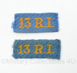 MVO straatnaam paar 13 RI 13e Regiment Infanterie- 5 x 2 cm - origineel