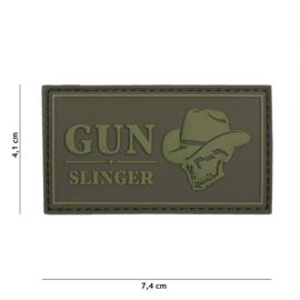 Embleem 3D PVC Gun Slinger - groen - met klittenband - 7,4 x 4,1 cm