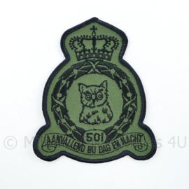 KLU Luchtmacht RNLAF 501 Squadron embleem - aanvallend bij dag en nacht  - 12 x 10 cm - origineel