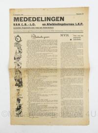 Krant Mededelingen CB LO van 10 augustus 1945 - Landelijke organisatie voor hulp aan onderduikers - origineel