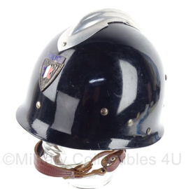 """Franse politie helm - blauw met schildje voorop - """"petitcollin 1970"""" - origineel"""