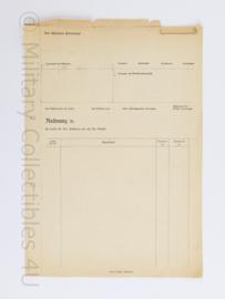 WO2 Duitse Rechnung - ongebruikt - 29,5 x 21 cm - origineel