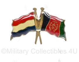 Originele speld Nederlandse en Afghaanse vlag - 3,5 x 2,5 cm - origineel