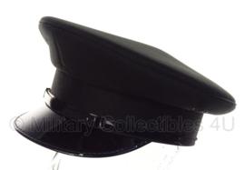 Politie platte pet - zonder insigne  -  Zwart glad wol, witte voering - maat 58 - origineel