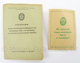 Duitse DDR documenten Gesellschaft fur sport und technik programm 1960 - afmeting 14 x 10 cm - origineel