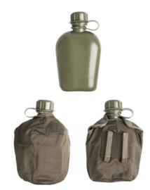Oostenrijkse leger veldfles met alluminium beker & groene hoes - origineel