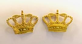 Nederlandse Politie rang onderscheiding kroontjes metaal - 2 stuks - 3,5 x 2,6 cm - origineel