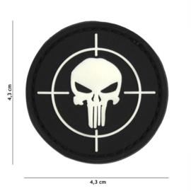 Embleem 3D PVC met klittenband - Punisher Vizier - zwart - 4,3 cm. diameter