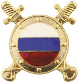 Russisch metalen petembleem Russische vlag met zwaarden - origineel