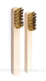 Koperborstel voor bijv. wapen onderhoud of Suede borstel -  set van 2 stuks - 15,5 x 3 cm  origineel