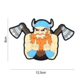 Angry Viking embleem 3D PVC - met klittenband - 8 x 12,5 cm