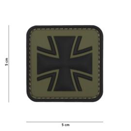Embleem 3D PVC met klittenband - Duits Kruis - groen - 5 x 5 cm.