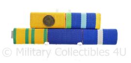 Nederlandse medaille baton voor 5 medailles -Trouwe dienst / Marinemedaille / Vierdaagse Kruis / + NOC NSF vaardigheidsmedaille + Militaire Vijfkamp  - 8,5 x 3 cm - origineel