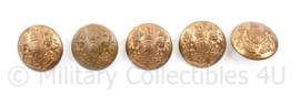 Wo2 Britse knopen set van 5 stuks - 24 mm - maker Cooye Bros Birmingham - origineel