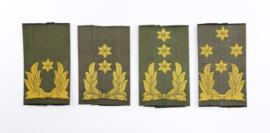 Defensie GVT epaulet set van 4 verschillende enkele epauletten in alle generaals rangen - Brigade Genereaal tm Generaal - 8 x 4,5 cm - origineel