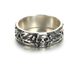 SS Ring SS totenkopf ring - 925 Sterling zilver - replica - size 7 t/m 10