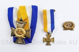 Defensie 15 en 25 jaar trouwe dienst medaille set - luxe spange met mini medaille en opzetstukje