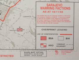 Sarajevo Warring Factions topografische kaart 1:25 000 - 65 x 47 cm - origineel