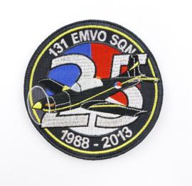 KLU Luchtmacht embleem 131 EMVO Squadron 1988-2013 25 jaar - Elementaire Militaire Vlieger Opleiding - diameter 10 cm - met klittenband - origineel