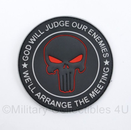 Defensie embleem met klittenband  God will judge our enemies but we will arrange the meeting - diameter 10 cm - origineel  - origineel