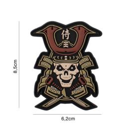 Embleem 3D PVC Samurai - colour - met klittenband - 8,5 x 6,2 cm.
