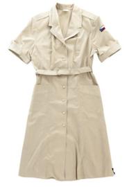 Vintage dames jurk khaki katoen - ongedragen - meerdere maten -  origineel