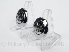 KMAR Marechaussee Luchthavenpolitie knoop - zilverkleurig - doorsnede 2,2 cm - prijs per stuk - origineel