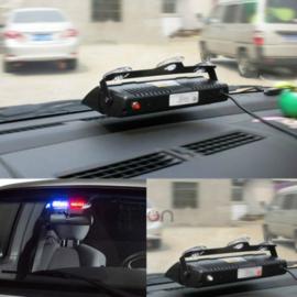 Politie zwaailicht voor op voorruit auto - rood/blauw 12V - 21 x 13 cm