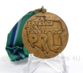 Poolse bronzen medaille - Verdiensten voor Transport voor de Poolse Volksrepubliek - 4 x 8,5 cm - origineel
