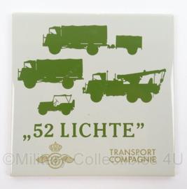 KL Landmacht wandbord/tegeltje 52 Lichte Transport Compagnie - afmeting 15 x 15 cm - origineel