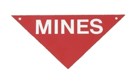 US Army Mines mijnen bord - metaal - 28,5 x 20 cm - origineel