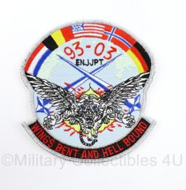 KLU, BAF etc 93-03 ENNJPT Wings Bent and Hell Bound embleem - 13 x 12 cm - origineel
