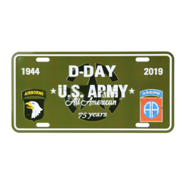 Nummerplaat D-Day US Army All American 75 Years 1944-2019 101st &82ND Airborne Division