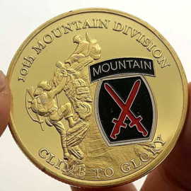 US Army 10th Mountain Division coin - Climb to Glory - 40 mm diameter