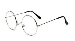 Antieke bril, ZILVER frame met ronde glazen met helder glas (niet op sterkte) - nieuw gemaakt