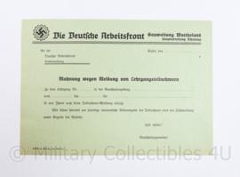 Wo2 Duits document Die Deutsche Arbeitsfront DAF - 29,5 x 21 cm - origineel